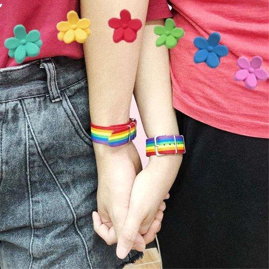 Pride Armband Regenboog Verstelbaar - Gay Pride LGBTQ - Rainbow - 24 cm - 1 stuks