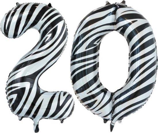 Folieballon 20 jaar zebra 86cm