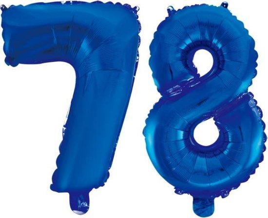 Folieballon 78 jaar blauw 41cm