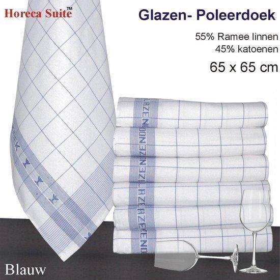Glazendoek - Poleerdoeken jacquard Blauw ruiten 65x65cm - set van 12 stuks - 50% Ramee linnen 50% katoen