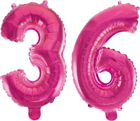 Folieballon 36 jaar roze 86cm