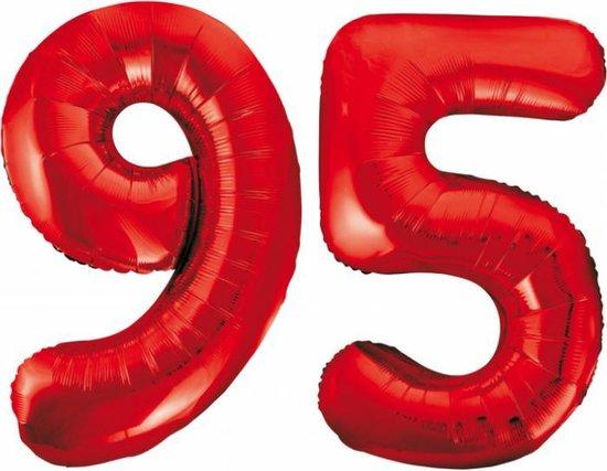 Folieballon 95 jaar rood 86cm