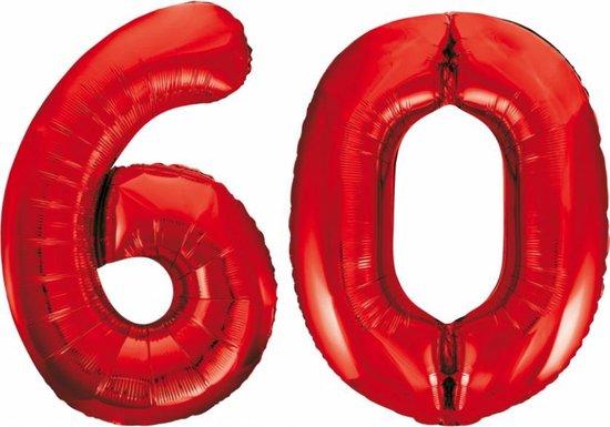 Folieballon 60 jaar rood 86cm