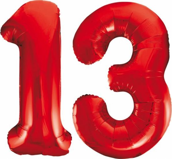 Folieballon 13 jaar rood 86cm