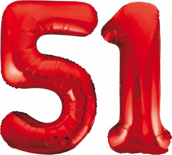 Folieballon 51 jaar rood 86cm