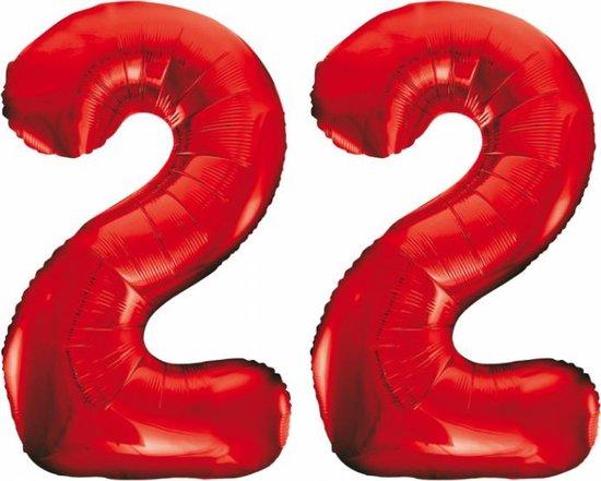 Folieballon 22 jaar rood 86cm