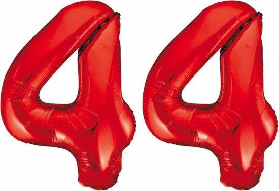Folieballon 44 jaar rood 86cm