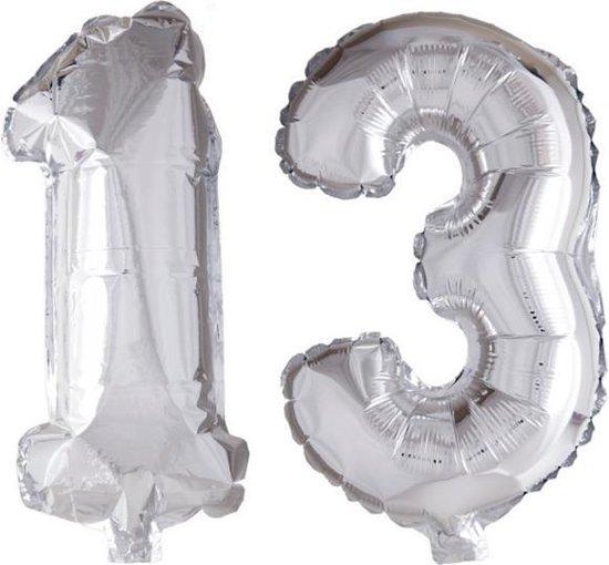 Folieballon 13 jaar zilver 41cm