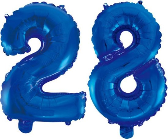Folieballon 28 jaar blauw 41cm