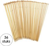 Breinaalden Set Bamboe 36 Stuks - 18 Verschillende Maten - 35 cm Lang - 2 tot 10 mm Dikte - Ergonomische Breinaald - Kwalitatief Hoogwaardig Bamboe