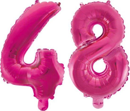 Folieballon 48 jaar roze 86cm