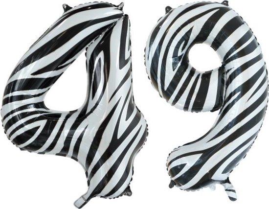 Folieballon 49 jaar zebra 86cm