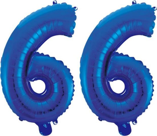 Folieballon 66 jaar blauw 86cm