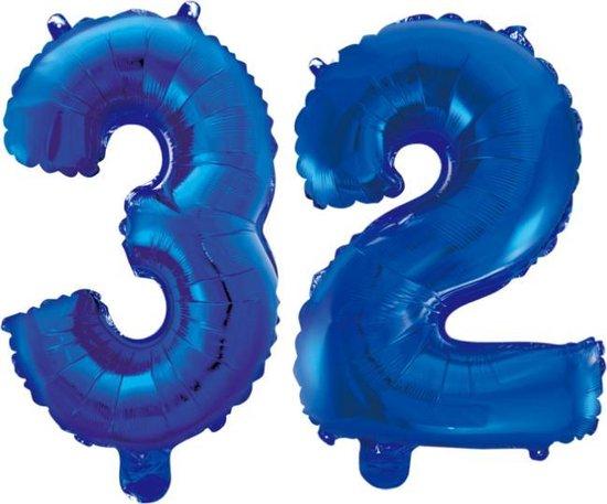 Folieballon 32 jaar blauw 86cm