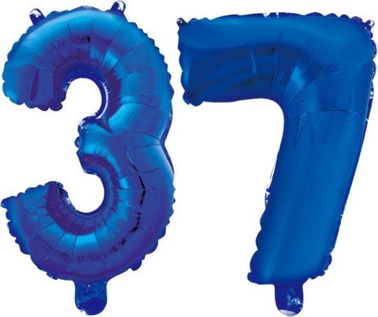 Folieballon 37 jaar blauw 86cm