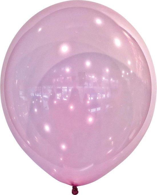 Amscan Ballonen 13 Cm Latex Metallic Transparant Roze 100 Stuks