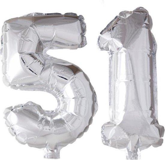 Folieballon 51 jaar zilver 86cm