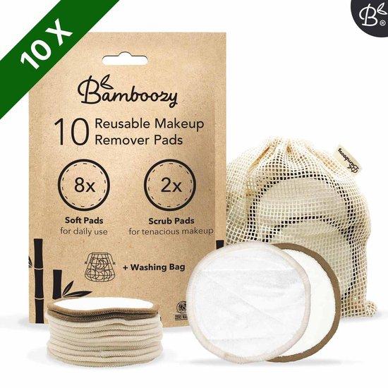 Bamboozy 10 Wasbare Wattenschijfjes 8x Dagelijks 2x Scrub Herbruikbare Wattenschijfjes Wasbare - Waszakje + E-BOOK - Wattenschijfjes Herbruikbare - Wasbare Make up Pads - Zero Waste Producten Project - Duurzame Wattenschijfjes Bamboe -  Watjes Watten