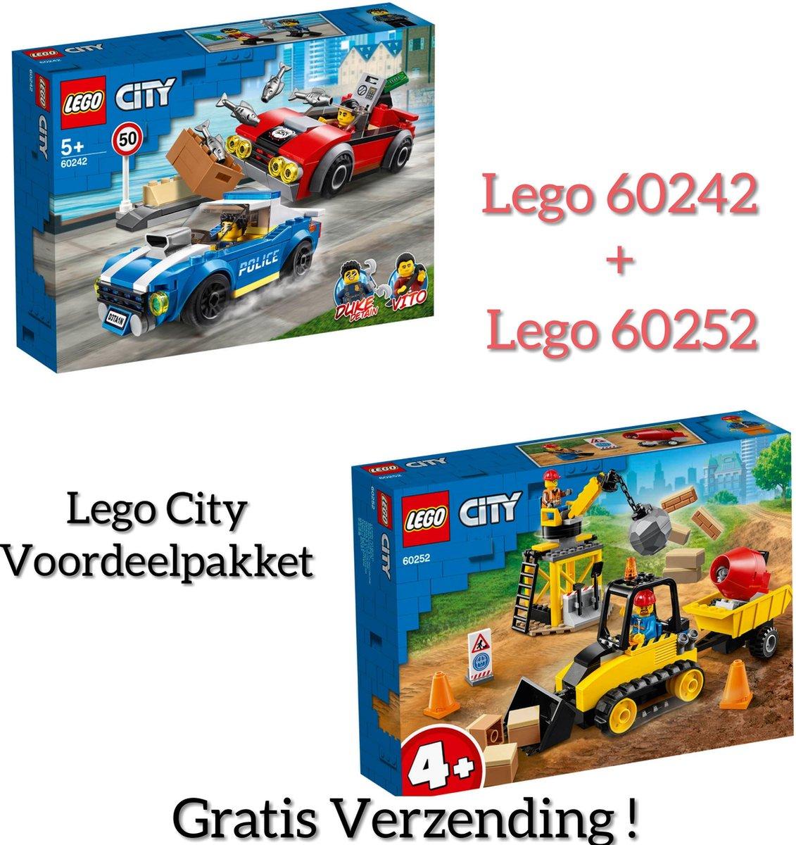 LEGO PAKKET LEGO CITY / LEGO City 4+ Constructiebulldozer - 60252 + LEGO City Politiearrest op de Snelweg - 60242
