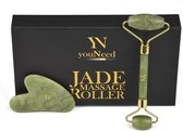 youNeed Jade Roller Gezichtsmassage Roller - Met 1 Gua Sha Steen - Groen