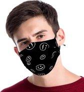 Zwart mondkapje van katoen - uitwasbaar & herb