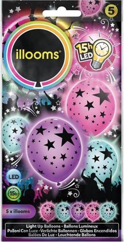 Illooms Ballonnen Mixed Stars met LED Licht 5 Stuks