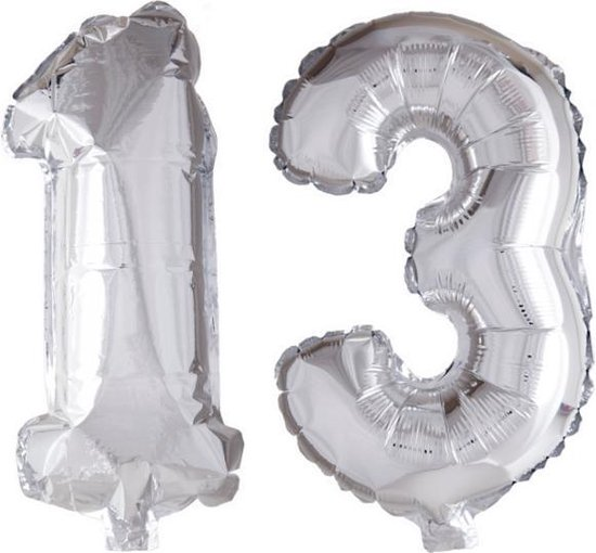 Folieballon 13 jaar zilver 86cm