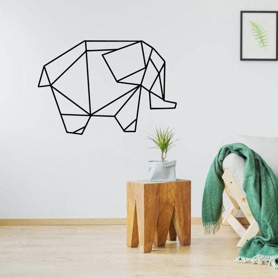 Origami Muursticker Olifant -  Zwart -  80 x 53 cm  - Muursticker4Sale