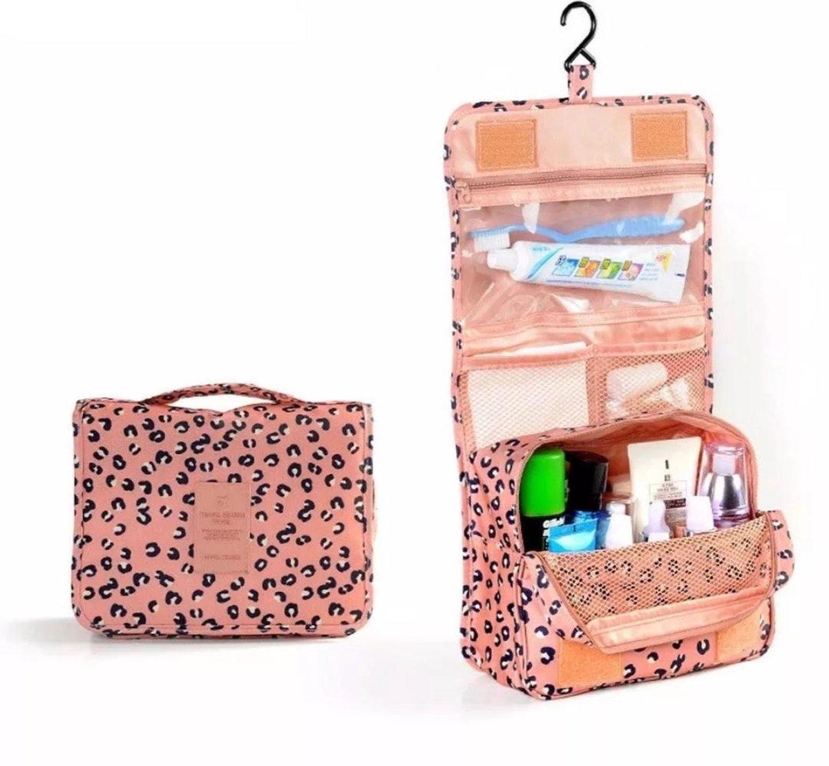 Toilettas met Haak - Roze met Luipaardprint - Beautycase - Organizer - Reistas - Uitklapbare Toilett