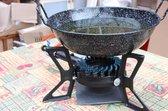 Driepoot wokbrander 5.5 KW met wokpan 40 cm, slang en drukregelaar