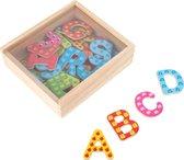 37x Magnetische houten letters gekleurd - Koelkast speelgoed magneten letters - Leren spellen en schrijven
