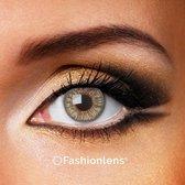 Kleurlenzen - Grey Passion - jaarlenzen met lenshouder - grijze contactlenzen Fashionlens®