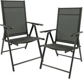 MaxxGarden 2x aluminium tuinstoel / tuin stoel zwart - zwart