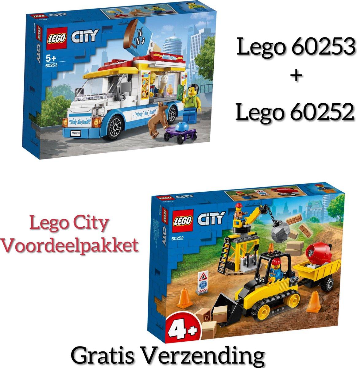 Lego PAKKET LEGO CITY 60252-60253 / LEGO City 4+ Constructiebulldozer 60252 + LEGO City IJswagen 60253