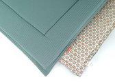 Boxkleed wafel Dusty Green/ print Frey