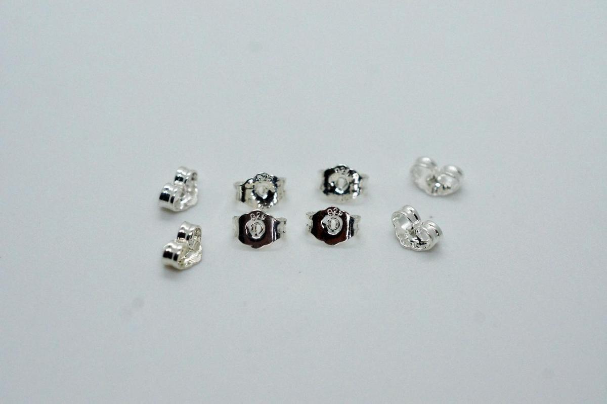 Achterkantjes oorbellen zilver - 8 stuks - 4 paar - slotjes