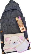 Kraamcadeau meisje - 3 in 1 geschenkset - Baby badcape - Baby slaapzak - Baby haarborstel - Baby verzorgingsset