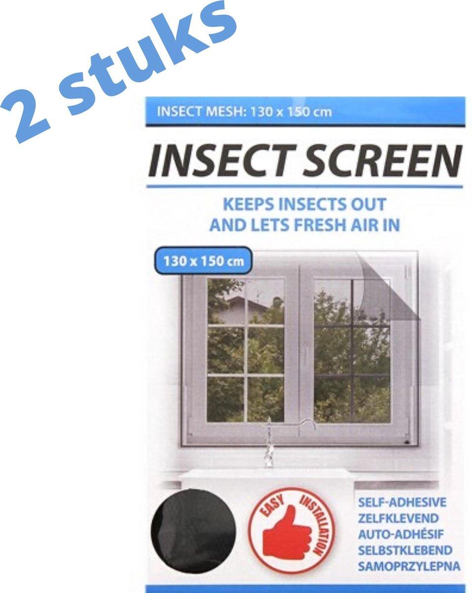Insect Protect Horrengaas - voor het raam - 130x150cm - 2 pakken - zelfklevend