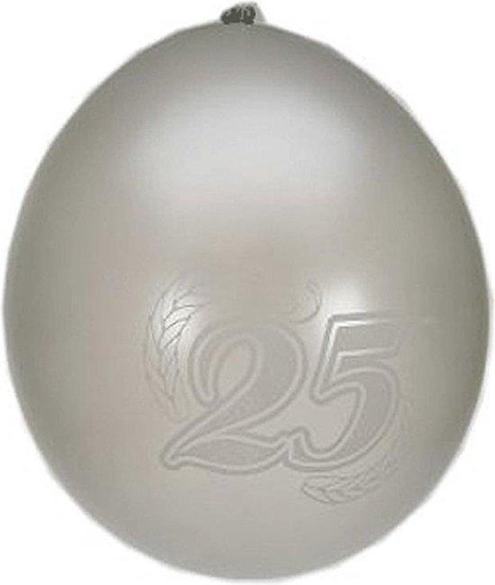 8x Ballonnen zilver 25 jaar thema