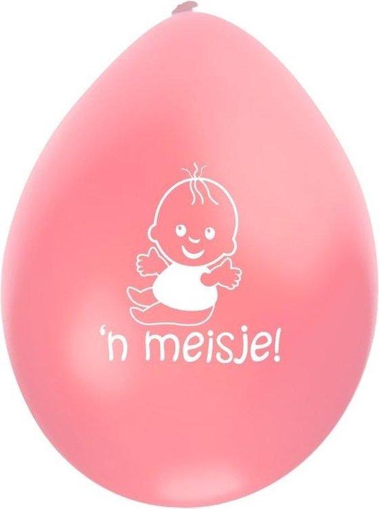 Geboorte ballonnen meisje 8x stuks - Geboren feestartikelen versiering roze