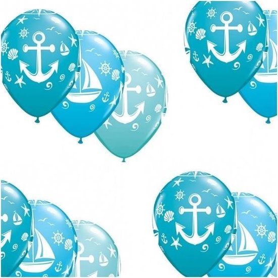 15x stuks Marine/maritiem thema party ballonnen - Feestartikelen en versiering