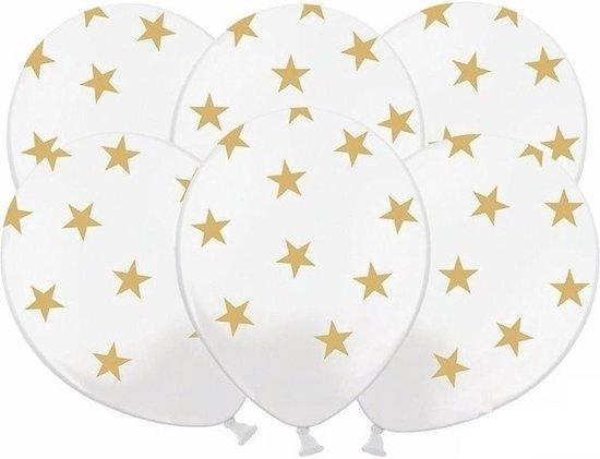 18x stuks Witte ballonnen met gouden sterren - Oud- en nieuw - Bruiloft - Verjaardag - Thema feestartikelen