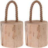 2x Deurstoppers teak met draagtouw 19 cm - Huishouden - Woonaccessoires/benodigdheden - Deurstoppers/raamstoppers van hout