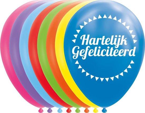 8 Latex ballonnen Hartelijk Gefeliciteerd