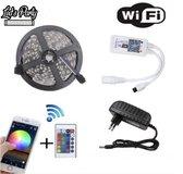 WIFI Led Strip 5050 RGB - 60 Led Per Meter -  5 Meter - Verlengbaar tot 100M -Afstandbediening Incl Batterijen - LedStrip App - RGB - TV Decoratie