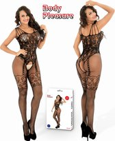 Body Pleasure - Super Strak - Sexy Lingerie Set - Uitdagende Body - Verpakt In Supergave Cadeaubox - One Size - Zwart