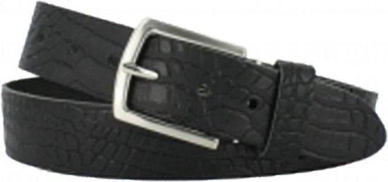 Leren Riem – Zwart – met kroko motief – 4 cm breed – maat 105 – met nikkelvrije gesp