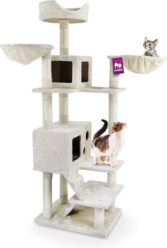 Petrebels Cleveland 175 krabpaal - Creme - 175 cm - kleine katten