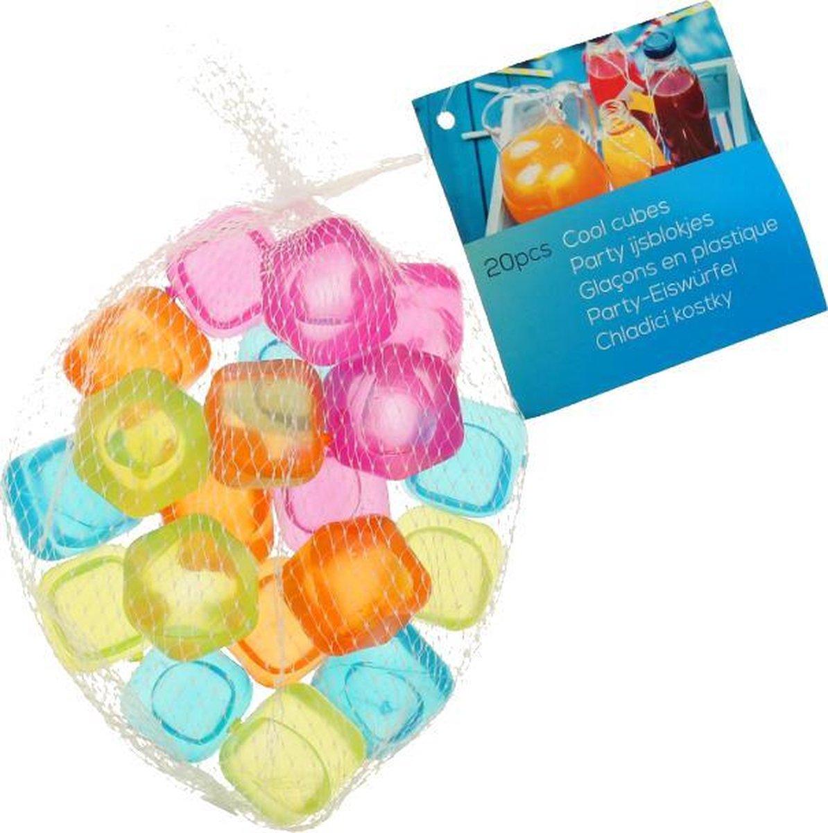 Herbruikbare ijsblokjes - Duurzaam - Milieuvriendelijk - Stevig kunststof - Gekleurd - 20 stuks