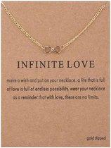 Wenskaart Infinite Love - Kaart met ketting Infinity - kaart liefde - kaart met sieraad